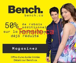 bench - BENCH: Obtenez un rabais additionnel de 50% sur la marchandise déjà en solde