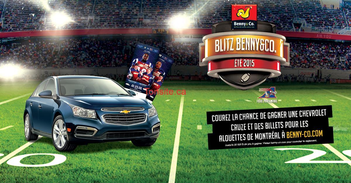 bennyco concours - Concours Benny&Co: Gagnez une Chevrolet Cruze et des billets pour les Alouettes de Montréal