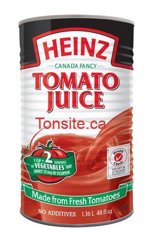 heinz jus tomate 136L - Jus de tomate Heinz (1,36L) à 99¢ au lieu de 2,27$