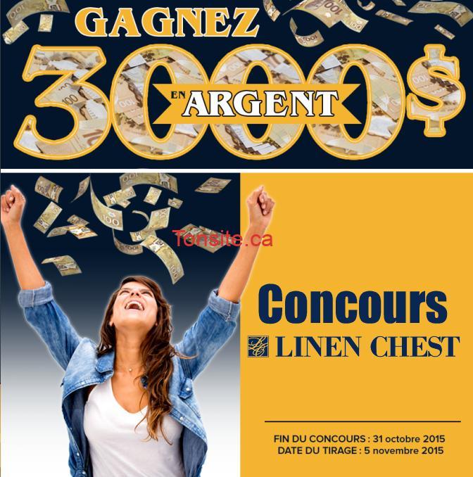 linen chest concours - Concours Linen Chest: Gagnez 3000$ en argent!