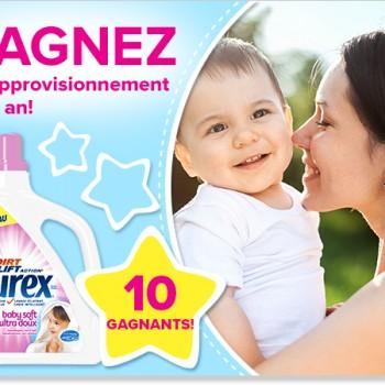purex concours bebe soft 350x350 - Concours PUREX: Gagnez 1 des 10 approvisionnements d'un an de Purex Bebe Soft