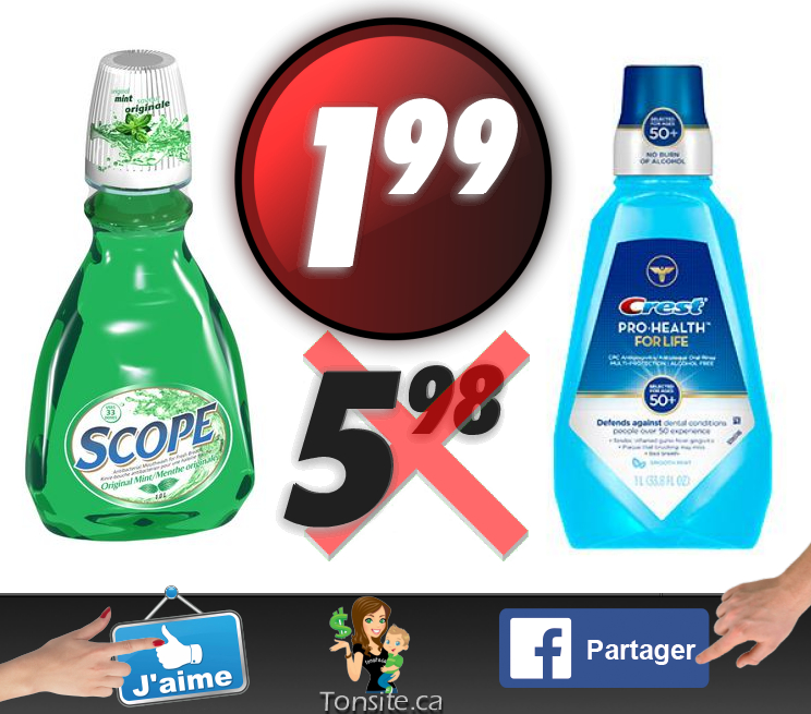 Rince-bouche Crest ou Scope (1L) à 1,99$ au lieu de 5,98$