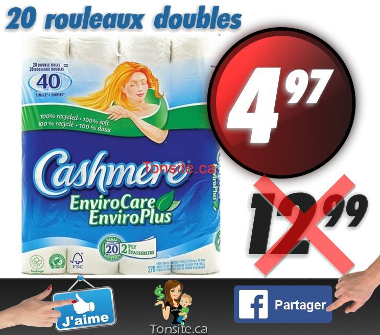 20 rouleaux doubles du Papier hygiénique Cashmere Enviro Plus à 4,97$ au lieu de 12.99$
