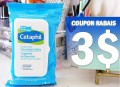 Coupon rabais de 3$ sur un emballage de 25 lingettes nettoyantes douces pour la peau Cetaphil