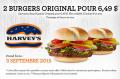 Coupon Harvey's: Obtenez 2 Burgers Original pour 6,49$ seulement!