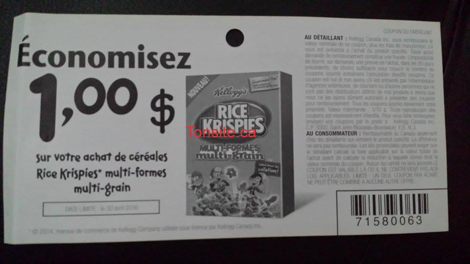 rice krispies coupon - Céréales Rice Krispies à 0.72$ seulement