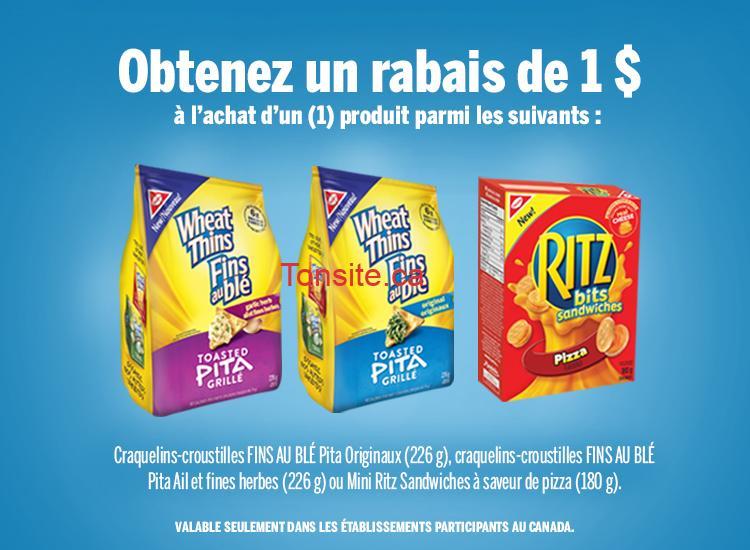 Coupon rabais de 1$ sur les craquelins-croustilles fins au blé Pita ou Mini Ritz Sandwiches à saveur de Pizza