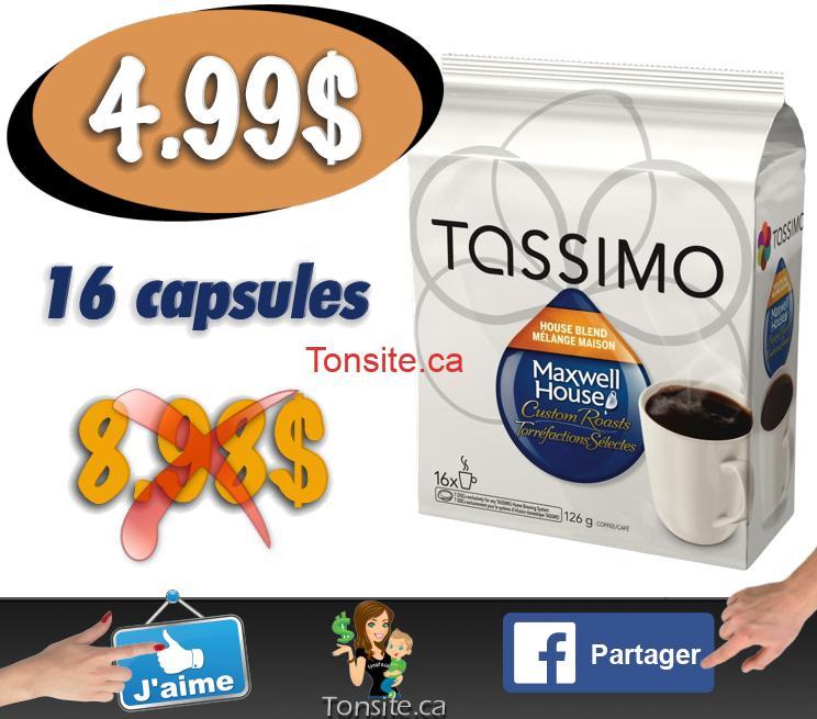 Café en capsules Tassimo Maxwell House (16 capsules) à 4.99$ seulement