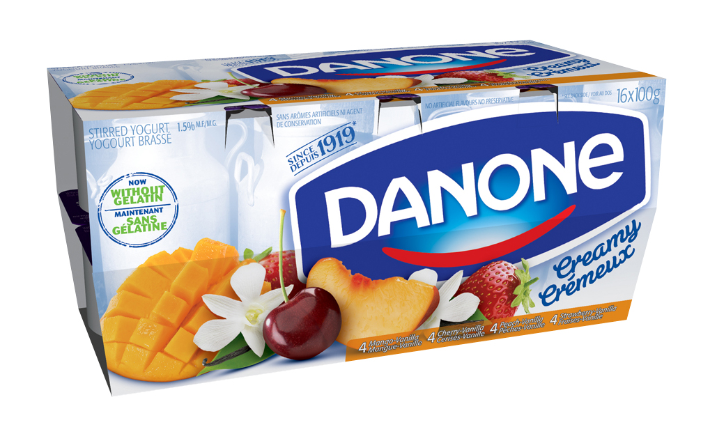 Emballage yogourt Danone (16 x 100ml) à 2.98$ au lieu 5,99$