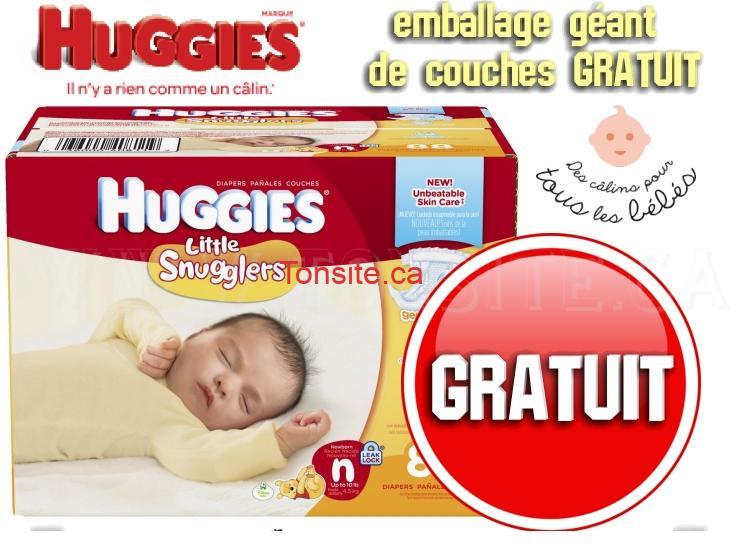 GRATUIT: Obtenez un emballage géant gratuit de couches HUGGIES Little Snugglers