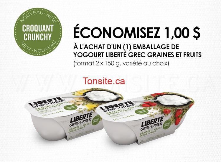 Coupon rabais de 1$ sur un emballage de yogourt Liberté Grec Graines et Fruits