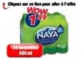 12 bouteilles d'eau de source naturelle Naya de 600ml NAYA à 1,49$ seulement!