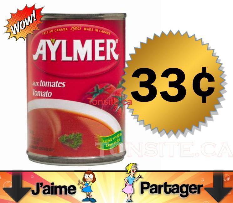 Soupe aux tomates régulière ou à faible en sodium à 33¢ au lieu de 97¢