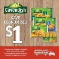 Coupon rabais de 1$ sur 2 produits Cavendish