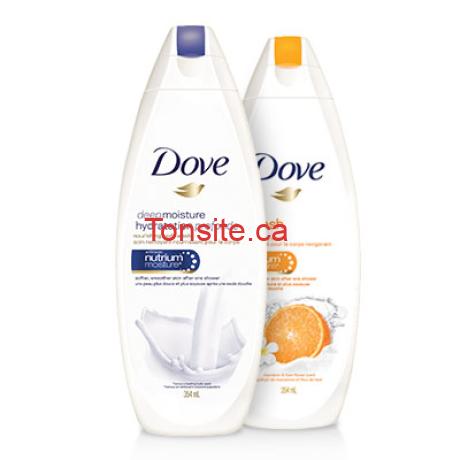 2 Nettoyants pour le corps Dove GRATUITS + 1$ dans vos poches!