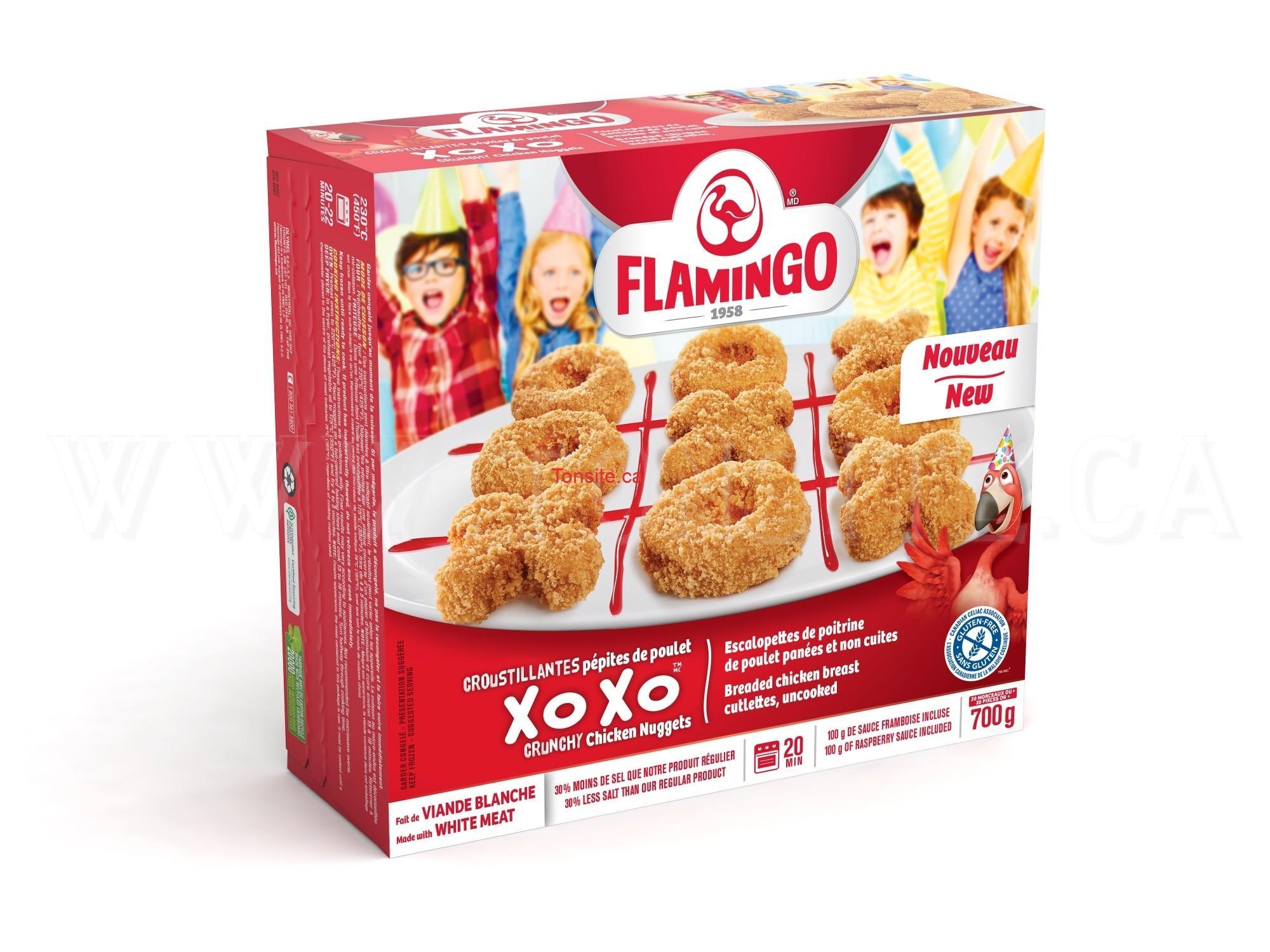 Coupon rabais de 1$ sur un emballage de pépites croustillantes de poulet XOXO 700 g Flamingo