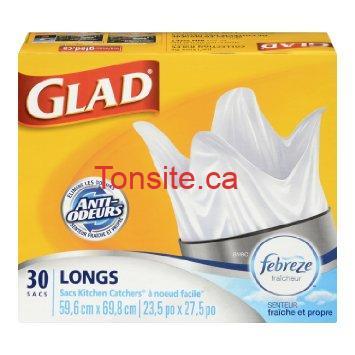 Emballage de 48 sacs à ordures Glad à 2.15$ au lieu de 7.29$
