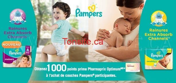 Coupon Pharmaprix: Obtenez 1000 points prime Pharmaprix Optimum à l'achat de couches Pampers participants