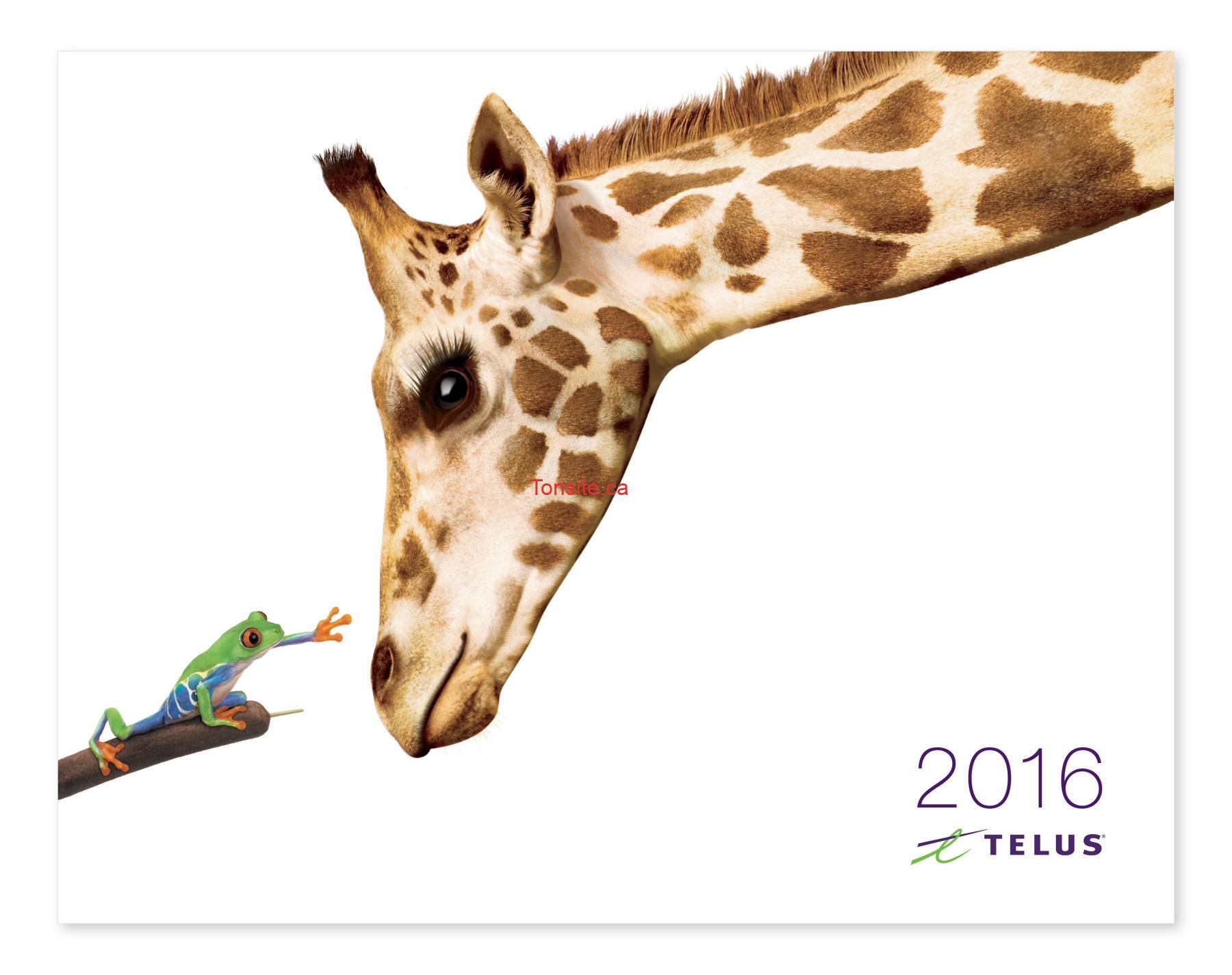 Telus: Obtenez un calendrier Telus 2016 GRATUITEMENT!