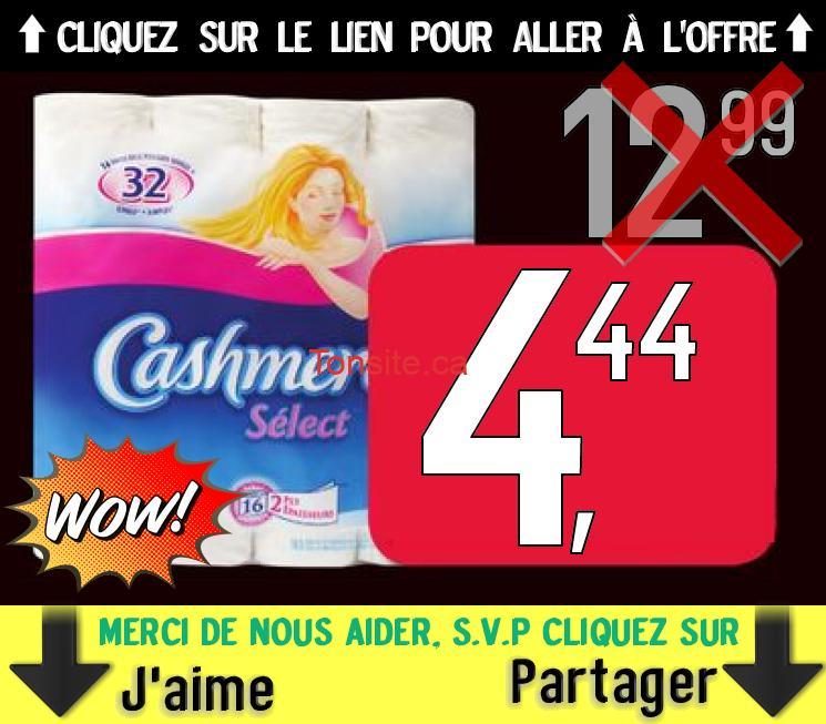 16 rouleaux doubles Cashmere Select à 4,44$ au lieu de 12,99$