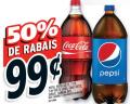 2 litres de Pepsi, Pepsi Diète, 7-UP, 7-UP Diète, Coke, Coke Diète, Sprite ou Canada Dry à 99¢ seulement