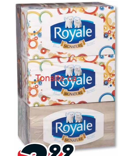 Emballage de 6 boîtes de papier mouchoirs Royale à 1,99$ au lieu de 6,49$