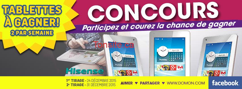 Concours Meubles Domon : Gagnez 1 des 2 tablettes HISENSE