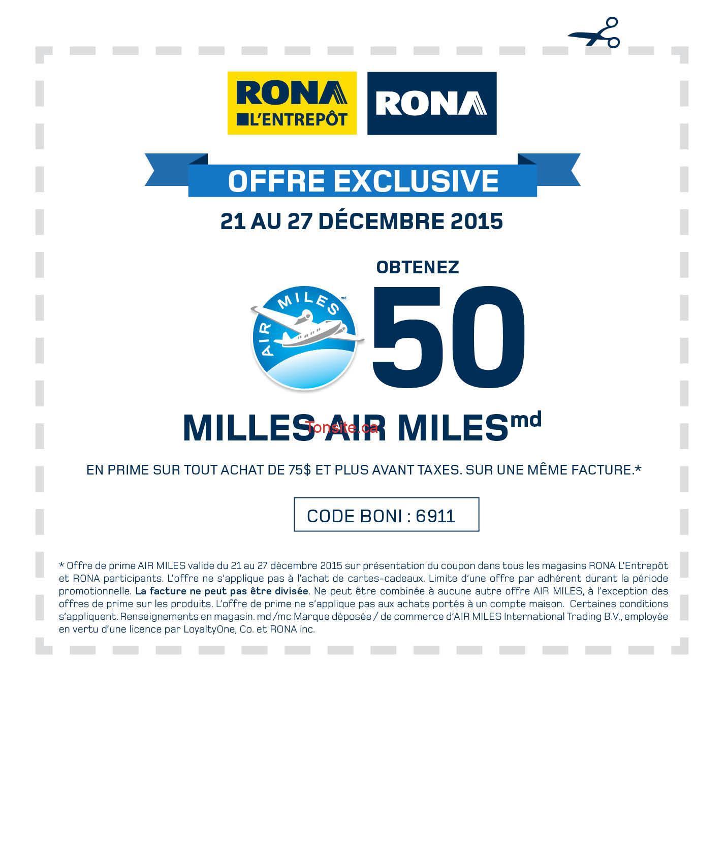 Rona: Obtenez 50 milles Air Miles en prime sur tout achat de 75$ et plus