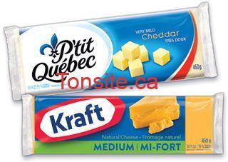 Barre de fromage Kraft (450g) ou P'tit Québec (460g) à 3,99$ au lieu de 9,99$