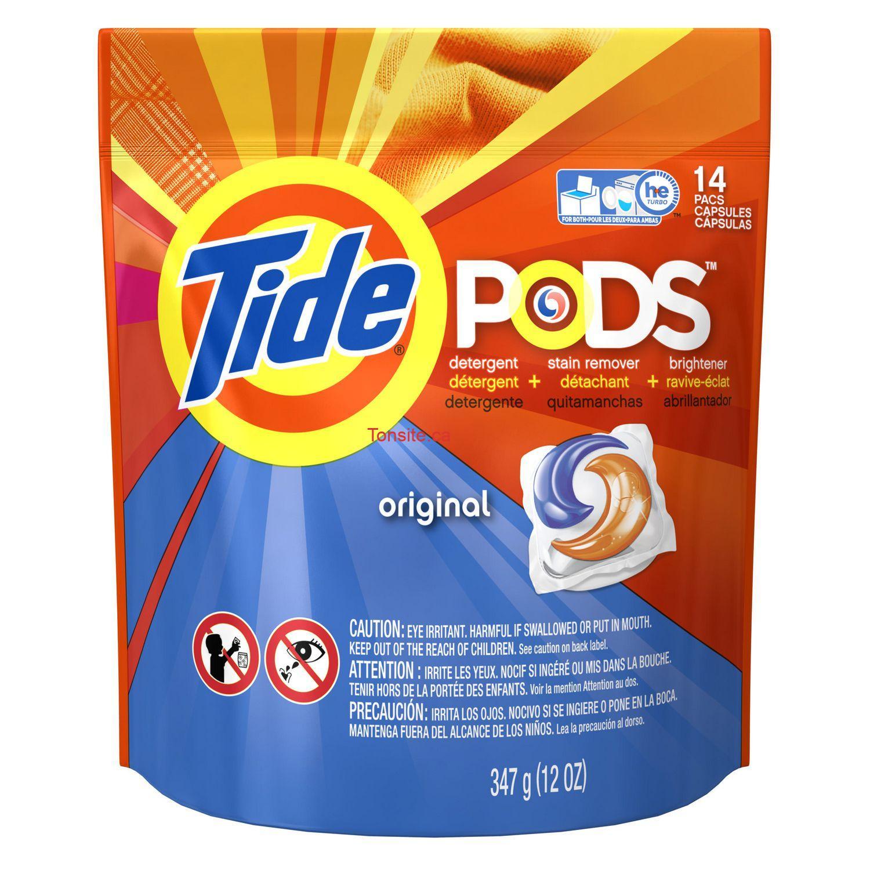 Détergent pour la lessive Tide Pods (14 sachets) à 99¢ au lieu de 4.99$