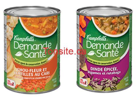 Coupon rabais de 1,50$ sur une boîte de soupe Campbell's Demande  Santé de 540 ml