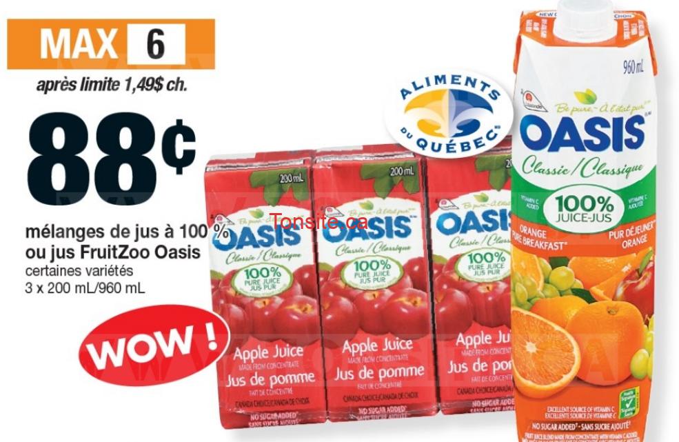 Mélanges de jus à 100% ou jus FruitZoo Oasis à 88¢ au lieu de 1,49$