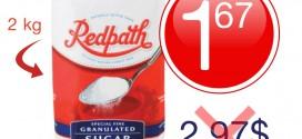 Sucre granulé Redpath (2 kg) à 1,67$ au lieu de 2,97$