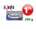 Fromage à la crème en brique PHILADELPHIA 250 g à 1,49$ au lieu de 4.99$