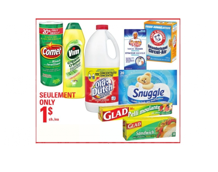 Produits ménagers à 1$ seulement!