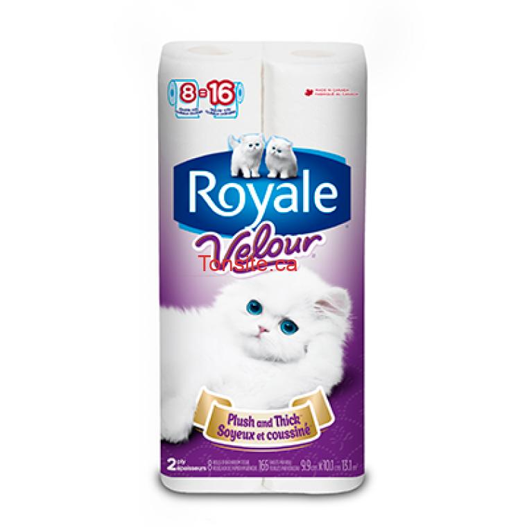 royale velour officiel 8 - Emballage de 8 rouleaux de papier hygiénique Royale Velour à 1.88$ au lieu de 5,99$