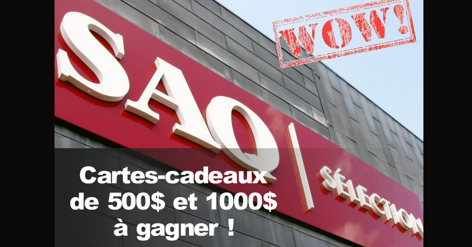saq concours2019 - Concours Saq: Cartes-cadeaux SAQ de 500$ et 1000$ à gagner!