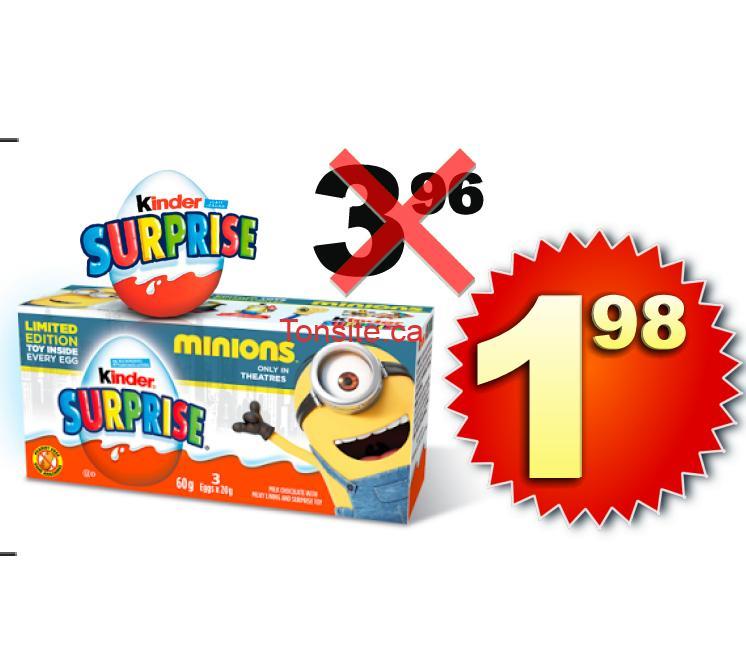 Paquet de 3 oeufs Kinder Surprise à 1,98$ au lieu de 3,96$