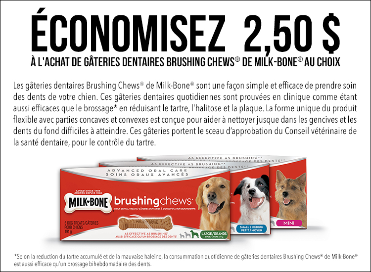 Coupon rabais de 2,50$ sur les gâteries dentaires Brushing Chews de Milk-Bone au choix!