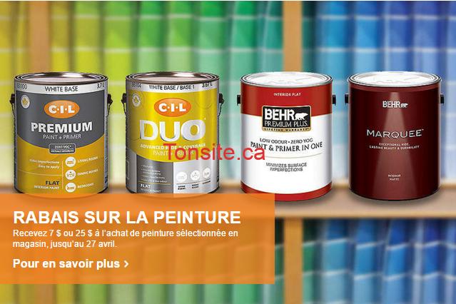 Home Depot: Remise postale de 7$ ou 25$ à l'achat de contenants sélectionnés de peinture d'intérieur ou d'apprêt