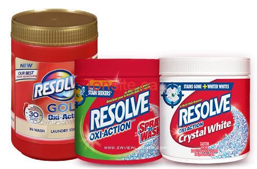 GRATUIT: Obtenez un détachant pour lessive Resolve Oxi-Action, Gold Oxi-Action ou Crystal White GRATUITEMENT !