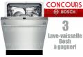 Concours Bosch: Gagnez 1 des 3 lave-vaisselle Bosh (valeur de 2049$)