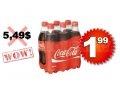 Emballage de 6 bouteilles de Coca Cola (710 ml) à 1,99$ seulement!