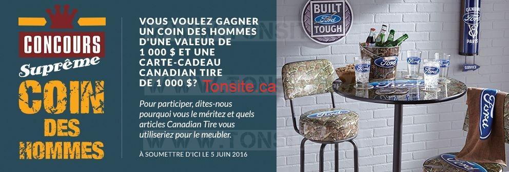 Concours Canadian Tire: Gagnez une carte-cadeau Canadian Tire de 1000$ ET un coin des hommes d'une valeur de 1000$