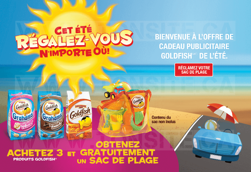 Achetez 3 emballages des produits Pepperidge Farm Goldfish et recevez un grand sac de plage