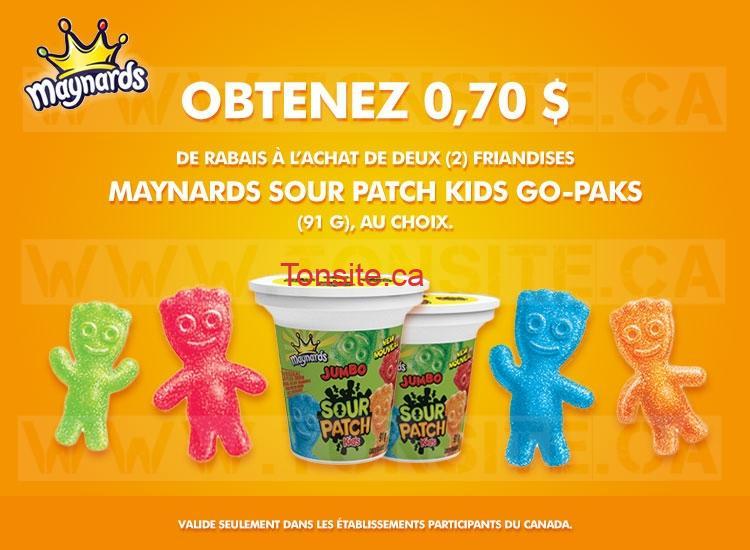 Coupon rabais de 70¢ sur 2 friandises Maynards Sour Patch Kids Go-Paks (91g), au choix