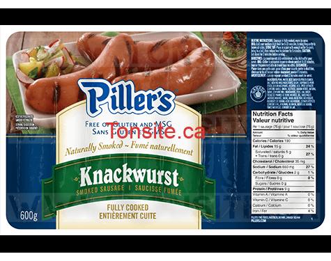 Emballage de saucisses fumées Piller's (600 g) à 4,25$ au lieu de 7,97$