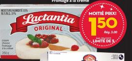 Fromage à la crème Lactantia Original à 1.50$ au lieu de 3,19$