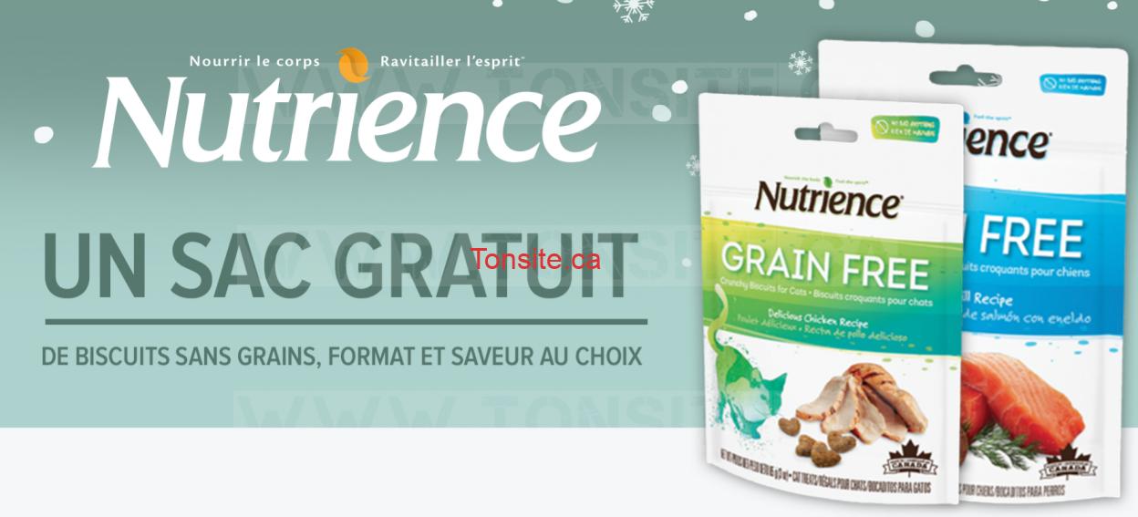 Obtenez un sac GRATUIT de biscuits sans grains Nutrience, format et saveur au choix
