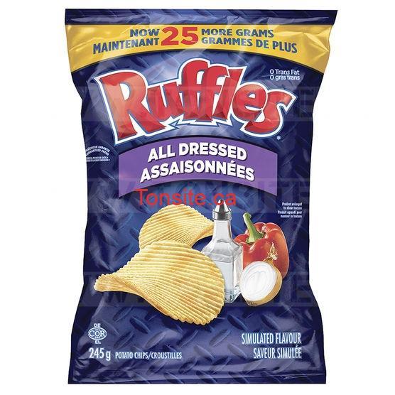 Croustilles Ruffles à 25¢ au lieu de 3.28$